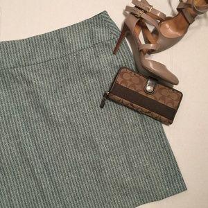 LOFT Green Blue Striped Wool Blend Tweed Skirt